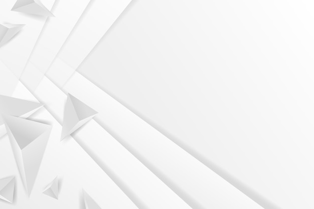 Polygonal white shapes background in 3d paper style Premium Vector