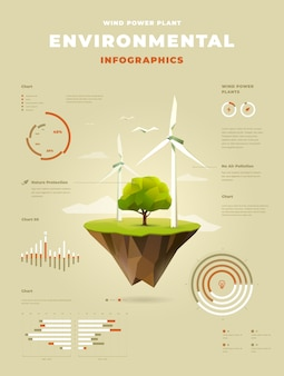 Polygonal wind power plant with a tree on floating island infographics