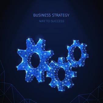 빛나는 입자와 텍스트가있는 기어 아이콘의 반짝이는 이미지가있는 다각형 와이어 프레임 비즈니스 전략 구성