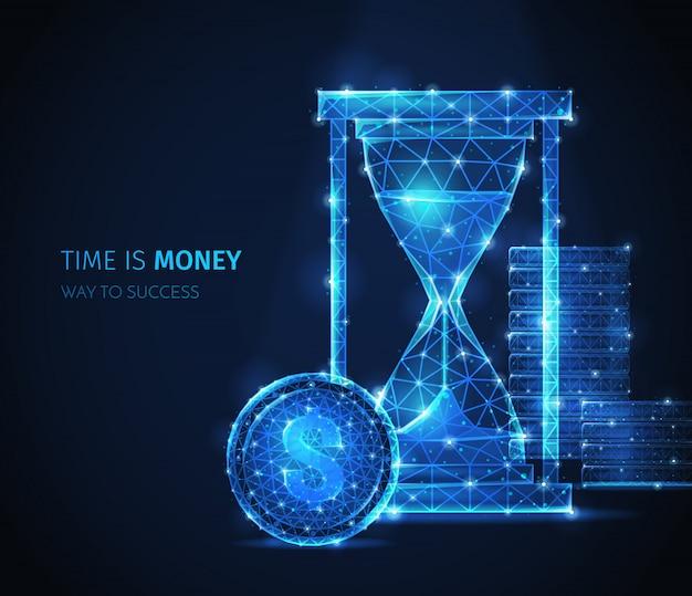 Композиция бизнес-стратегии полигонального каркаса с текстом и сверкающими изображениями классических песочных часов с частицами