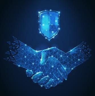シンボルの友情とビジネスパートナーシップのベクトル図として多角形のワイヤフレームハンドシェイク抽象的な青い組成
