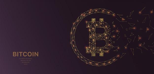 Polygonal wireframe mesh futuristic with bitcoin