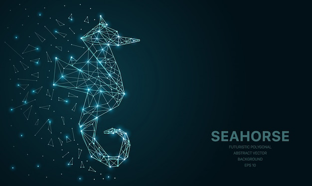 Polygonal wireframe mesh futuristic with seahorse