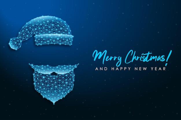 산타 클로스 수염 콧수염과 모자와 다각형 와이어 프레임 메쉬 그림