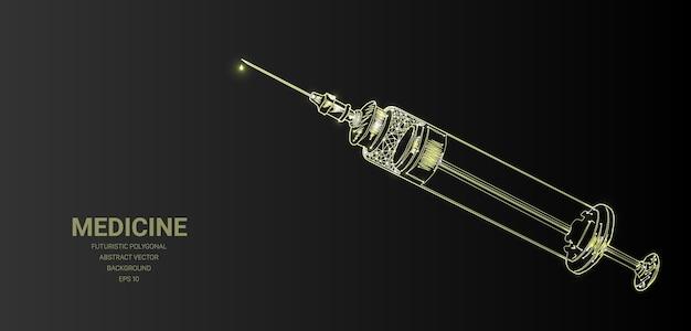Полигональная каркасная сетка с медицинским шприцем