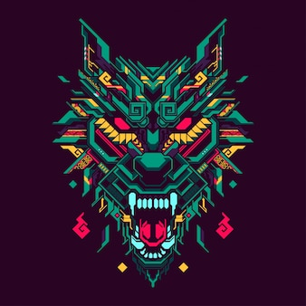 Polygonal wolf head illustration