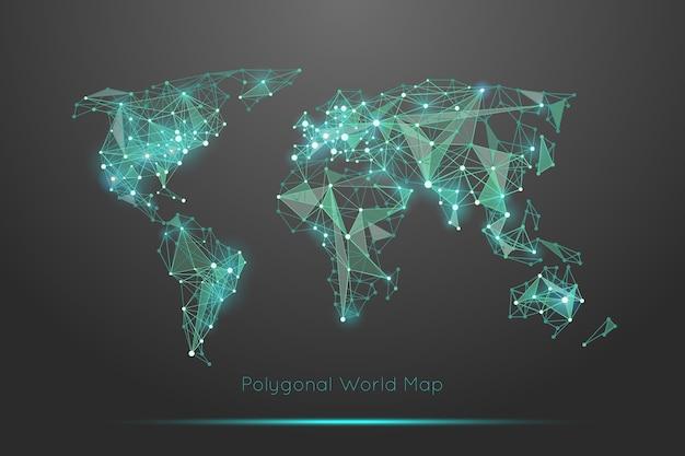 多角形の世界地図。グローバルな地理と接続、大陸と惑星