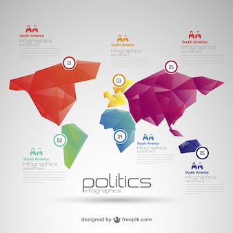 Polygonal world map infographic