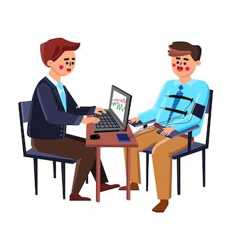 オフィスのベクトルで若い男に合格するポリグラフテスト。嘘発見器ポリグラフを受けている少年の生理学的測定を示すコンピュータ。キャラクター検査エキスパートテストガイフラット漫画イラスト