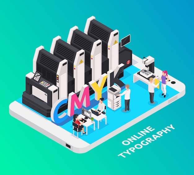 Polygraphy industry concept with online typography symbols isometric