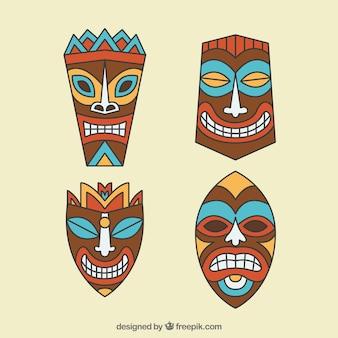 Полинезийский набор племенных масок тики