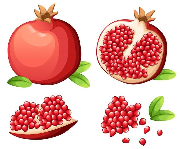석류와 석류의 신선한 씨앗. 열린 된 석류의 그림입니다. 장식 포스터, 상징 천연 제품, 농민 시장에 대 한 그림. 웹 사이트 페이지