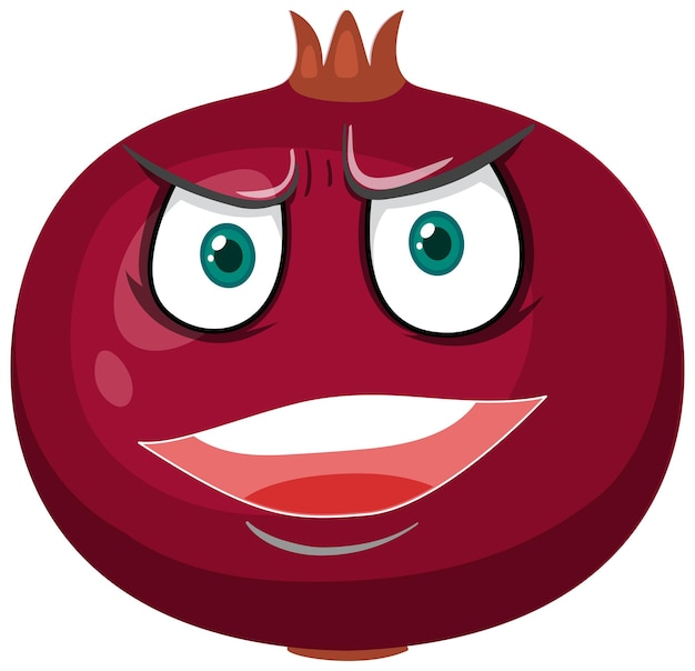 Pomegranate cartoon character with angry face expression on white background