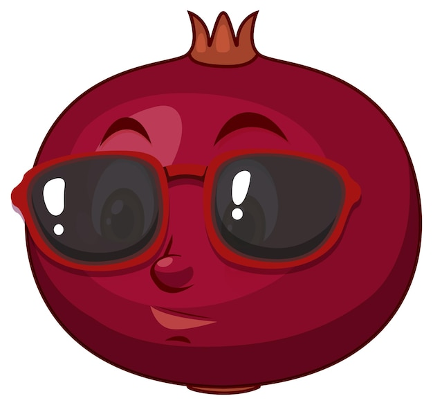 Pomegranate cartoon character with facial expression