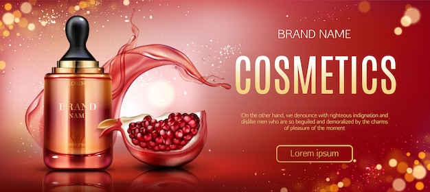 Pomegranate cosmetic bottle banner