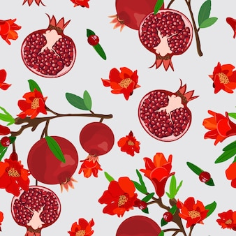 Pomegranate fruits seamless pattern with flower