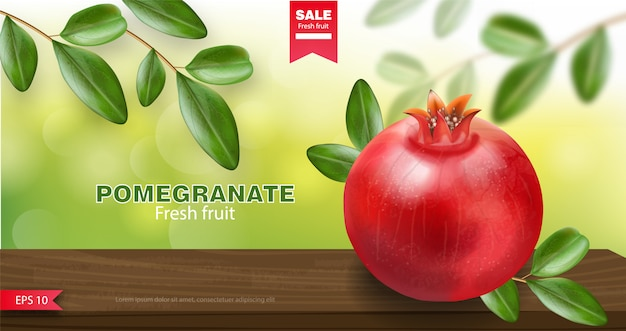 Pomegranate and green leaf, fresh fruit realistic, organic fruit, pomegranate banner
