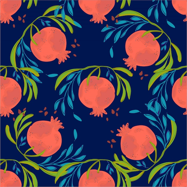 Pomegranate hand drawn seamless pattern illustration. botanical fruit. engraved pomegranate.