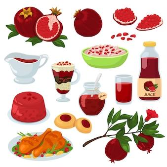 석류 건강에 좋은 음식 붉은 익은 과일 가닛과 흰색 배경에 고립 된 아침 천연 유기농 디저트의 신선한 과일 주스 젤리 잼 그림 세트