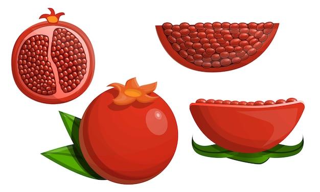 Pomegranate icon set, cartoon style