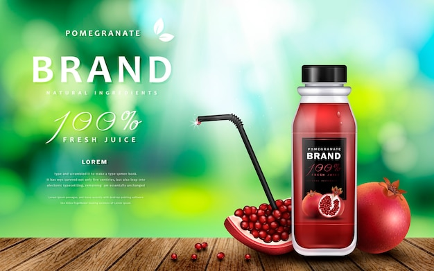 Pomegranate juice ads with delicious juice