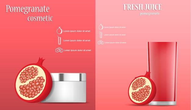Pomegranate juice seeds banner concept set