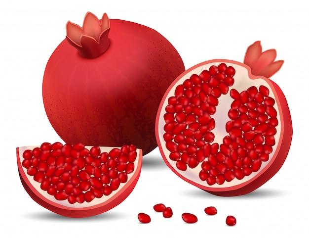 Pomegranate juice seeds icons set
