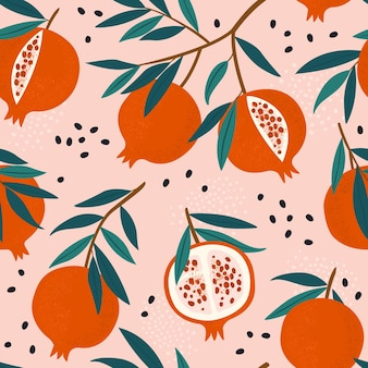 Pomegranate leaf seamless pattern red garnet seamless pattern