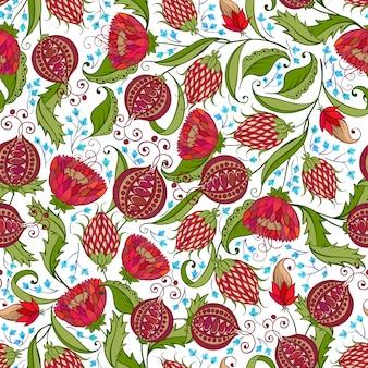 석류 패턴 프리미엄 벡터