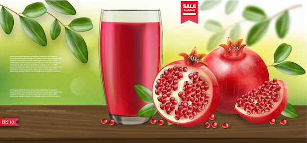 Pomegranate realistic, pomegranate juice nature background  packaging banner