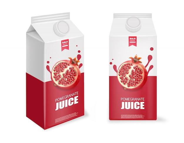 現実的なザクロ、ザクロジュースパッケージ、白い容器、新鮮な製品、白いボックス