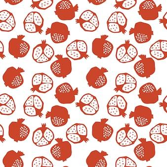 빨간색과 흰색 색상에 석류 완벽 한 패턴입니다. 추상 낙서와 스칸디나비아 과일의 꽃 벡터 일러스트 레이 션. 가넷 아르메니안 패턴. 패션 프린트를 위한 우아한 템플릿입니다.