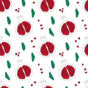 석류 원활한 패턴 라인 아트