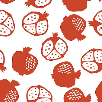 Pomegranate seamless pattern in red and white colors. floral vector illustration of abstract doodle and scandinavian fruits. garnet armenian pattern. the elegant the template for fashion prints.