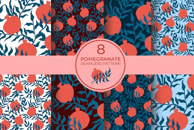 Pomegranate seamless pattern set with leaves. floral vector illustration of abstract doodle and scandinavian fruits. garnet armenian pattern collection. the elegant template for fashion prints.