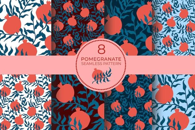 석류 원활한 패턴 잎으로 설정합니다. 추상 낙서와 스칸디나비아 과일의 꽃 벡터 일러스트 레이 션. 가넷 아르메니안 패턴 컬렉션. 패션 프린트를 위한 우아한 템플릿입니다.
