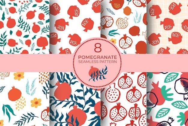 석류 원활한 패턴 잎, 꽃으로 설정합니다. 추상 낙서와 스칸디나비아 과일의 꽃 벡터 일러스트 레이 션. 가넷 아르메니안 패턴 컬렉션. 패션 인쇄를 위한 우아한 템플릿입니다.