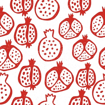 Pomegranate seamless pattern with grains. floral vector illustration of abstract doodle and scandinavian fruits and seeds. garnet armenian pattern. the elegant the template for fashion prints.