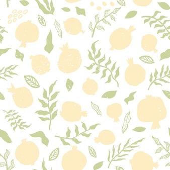 잎과 석류 완벽 한 패턴입니다. 꽃 벡터 일러스트 레이 션 추상 낙서와 스칸디나비아 과일입니다. 텍스처와 석류 과일의 완벽 한 패턴입니다. 패션 인쇄를 위한 우아한 템플릿