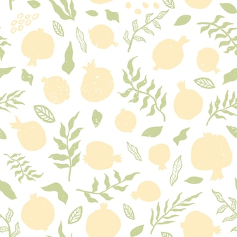 Pomegranate seamless pattern with leaves. floral vector illustration abstract doodle and scandinavian fruits. seamless pattern of pomegranate fruit with texture. elegant the template for fashion print