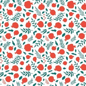 Гранатовый бесшовный образец с листьями. цветочные векторные иллюстрации для поздравительной открытки шана това. поздравительная открытка рош ха-шана, символ праздника гранат. бесшовный фон с абстрактными фруктами.