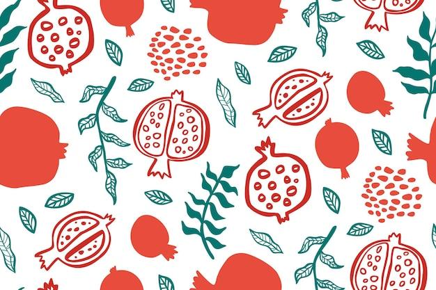 잎과 석류 완벽 한 패턴입니다. shana tova 인사말 카드에 대 한 꽃 벡터 일러스트입니다. rosh hashanah 인사말 카드, 휴일 상징 석류. 추상 과일 원활한 반복 패턴입니다.