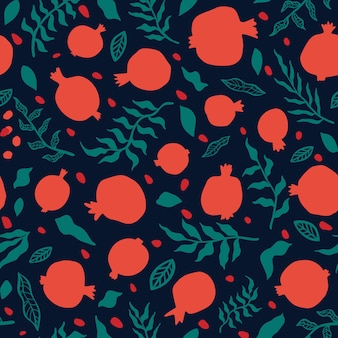 Гранатовый бесшовный образец с листьями. цветочные векторные иллюстрации для поздравительной открытки шана това. поздравительная открытка рош ха-шана, символ праздника гранат. абстрактные фрукты бесшовные повторять узор.