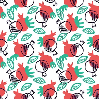Гранатовый бесшовный образец с листьями. цветочные векторные иллюстрации абстрактного каракули и скандинавских фруктов. гранат с армянским узором. элегантный шаблон для модных принтов.