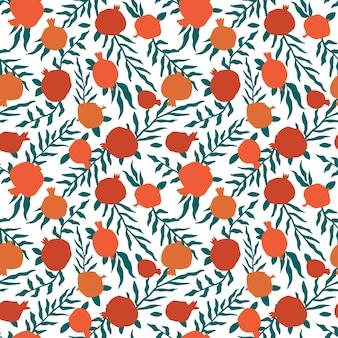 잎과 석류 완벽 한 패턴입니다. 추상 낙서와 스칸디나비아 과일의 꽃 벡터 일러스트 레이 션. 가넷 아르메니안 패턴. 패션 프린트를 위한 우아한 템플릿입니다.