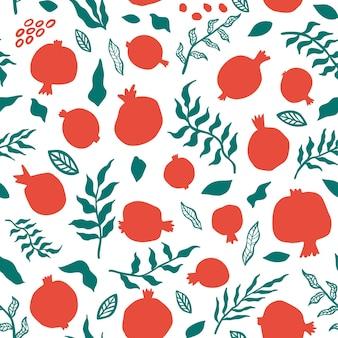 잎과 석류 완벽 한 패턴입니다. 추상 낙서와 스칸디나비아 과일의 꽃 벡터 일러스트 레이 션. 가넷 아르메니안. 패션 프린트를 위한 우아한 템플릿입니다.