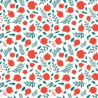 Pomegranate seamless pattern with leaves. floral vector illustration for shana tova greeting card. rosh hashanah greeting card, holiday symbol a pomegranate. abstract fruits seamless background.