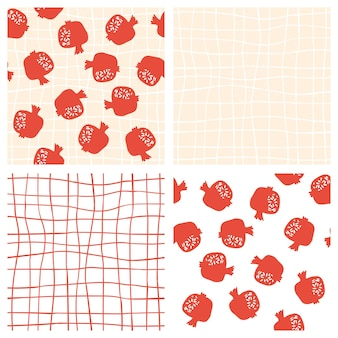 Pomegranate seamless pattern with pink hand drawn grid background. floral vector illustration set of abstract doodle and scandinavian fruits. garnet armenian pattern. the elegant fashion prints.