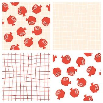 ピンクの手描きのグリッドの背景とザクロのシームレスなパターン。抽象的な落書きとスカンジナビアの果物の花のベクトルイラストセット。ガーネットアルメニアパターン。エレガントなファッションプリント。