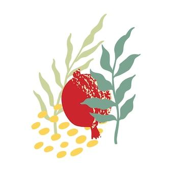 白い背景で隔離のザクロのベクトルのロゴ。ザクロとエンブレムの種、シャナトバデザインのラベル。手描きの葉を持つ抽象的なガーネットと穀物-ロゴデザイン、ポスターテンプレート。